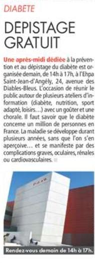 Dépistage gratuit et prévention du diabète + goûter + chorale - Nice (06)