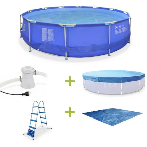 Kit piscine tubulaire Opale Ø450cm (Pompe, bâche, tapis de sol et échelle) - Bleue