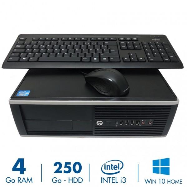 PC Fixe HP Compaq Elite 8200 SFF - i3-2100, RAM 4Go, 250Go, Windows 10 + Clavier + Souris (Reconditionné)