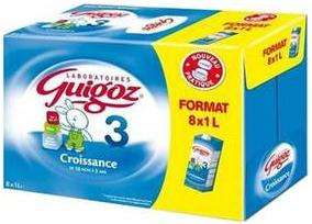 Lait enfant Guigoz croissance 8x 1L (7,10€ sur carte Waooh)