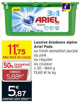 Lessive écodoses Ariel Pods x30 (3.85€)