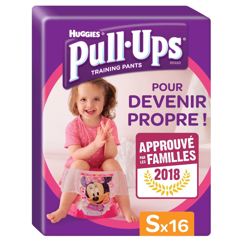 Sélection de paquets de couches Huggies Pull-Ups - Ex : Paquet de 16 couches culottes fille ou garçon, taille S : 8-15 kg