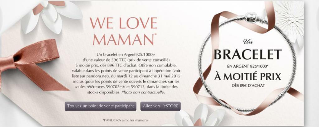 -50% sur le bracelet Pandora à partir de 89€ d'achat