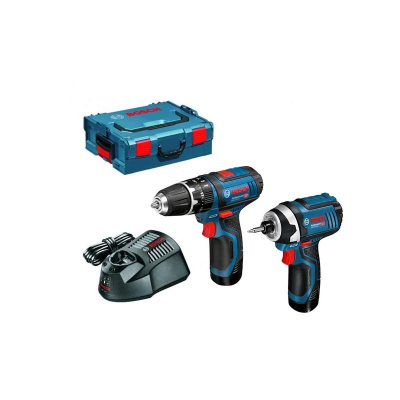 Pack Perceuse-visseuse Bosch GSB 12V-15 + 2 Batteries GDR 12V-105 2,0Ah + L-Boxx