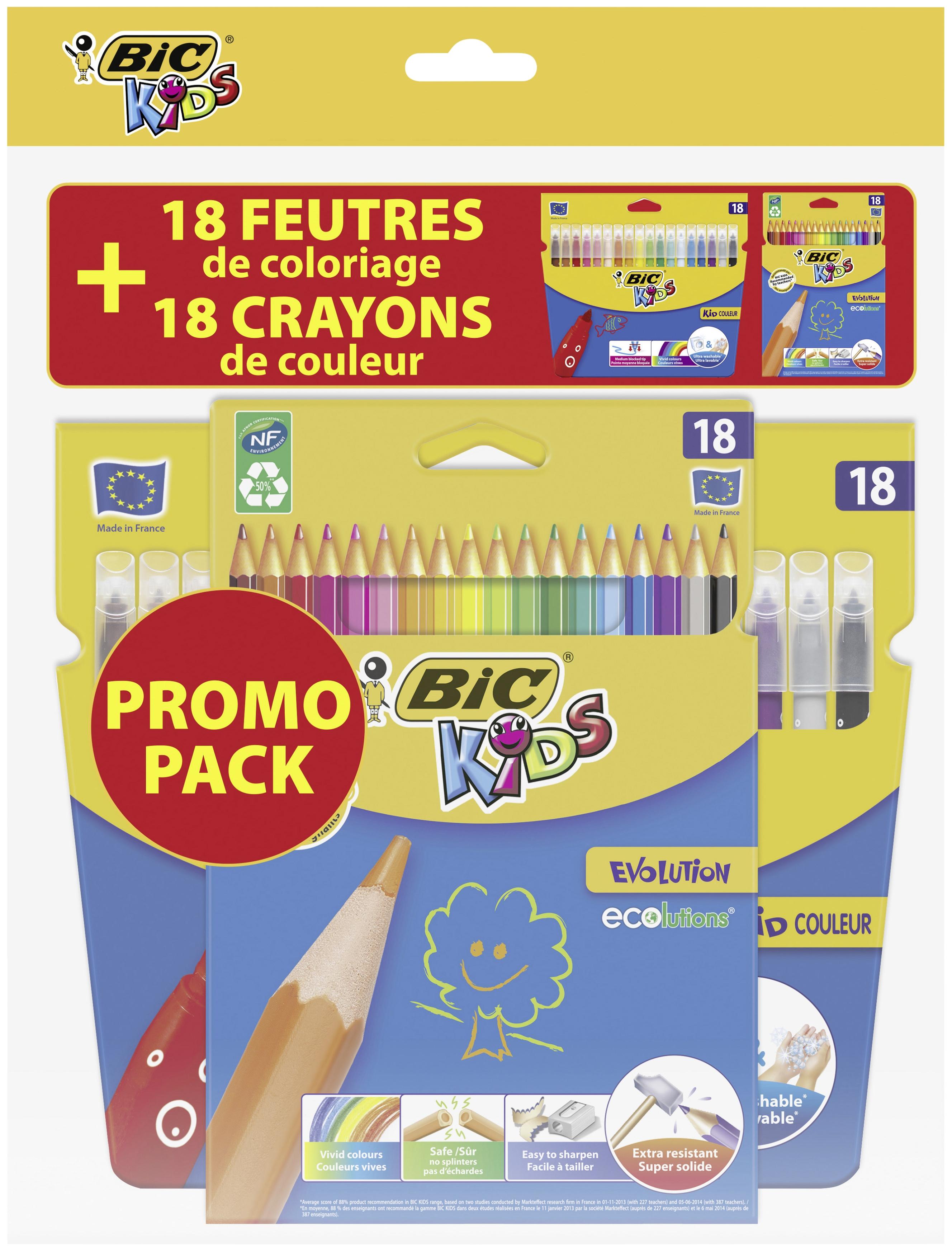Lot de 18 Feutres de coloriage Bic Kid couleurs + 18 crayons de couleurs Bic Evolution (via 3€ sur la carte de fidélité)