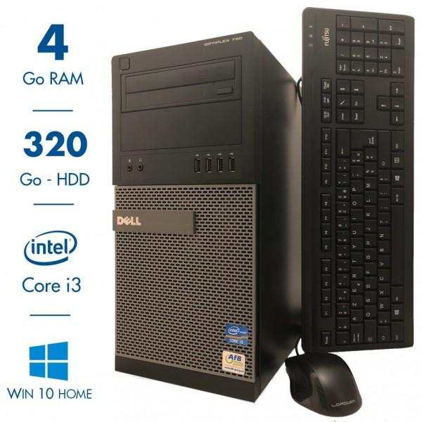 Tour PC Dell Optiplex 790 - i3-2120, 4Go RAM, HDD de 320Go, Windows 10 (Reconditionnée)  + Clavier/Souris