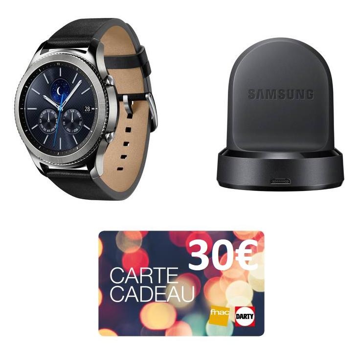 Montre connectée Samsung Gear S3 Classic + Dock de charge + 30€ offerts en carte cadeau (via ODR de 50€)