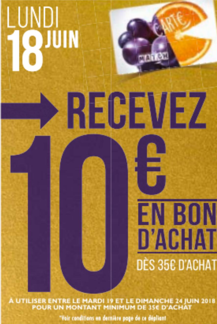 10€ en bon d'achat offerts dès 35 euros d'achats
