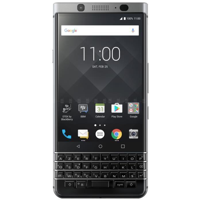 Smartphone 4,5'' Blackberry Keyone Silver - clavier AZERTY, RAM de 3Go, ROM de 32Go, Android 7.1 (via ODR de 100€)