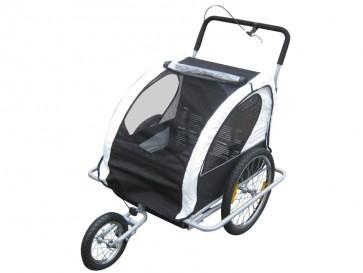 Remorque vélo 2 en 1 convertible en poussette et jogger pour deux enfants, coloris Blanc/Noir - BC-Elec