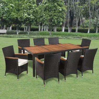Mobilier de jardin 8 chaises + table - Résine tressée et dessus de table en acacia