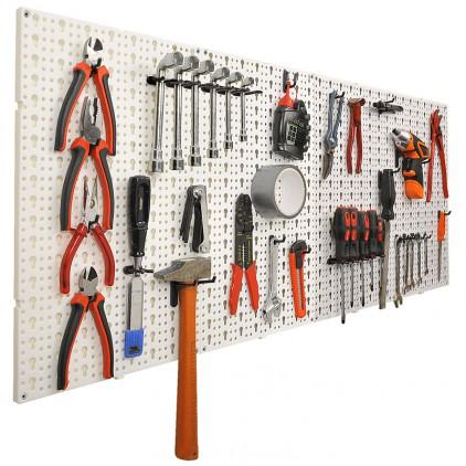 Lot de 4 panneaux perforés porte outils muraux + 20 crochets