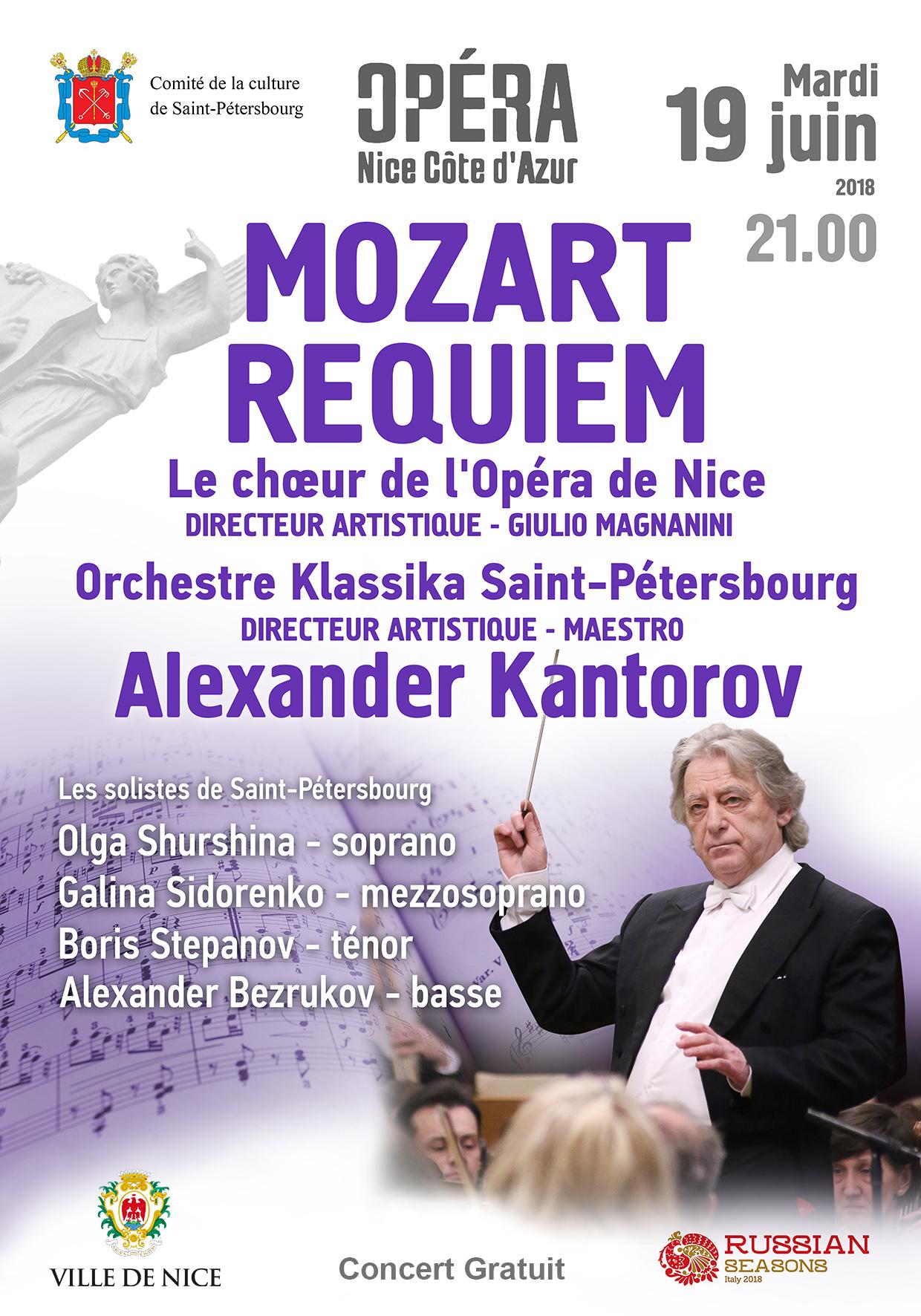 Invitation gratuite pour l'opéra Requiem de Mozart par l'Orchestre Klassika de Saint-Pétersbourg - le 19 juin (21 h), à l'Opéra de Nice (06)