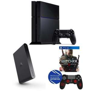 Pack PS4 500Go Noire + PlayStation TV + Voucher + The Witcher 3 + Protections Silicone pour Manette PS4