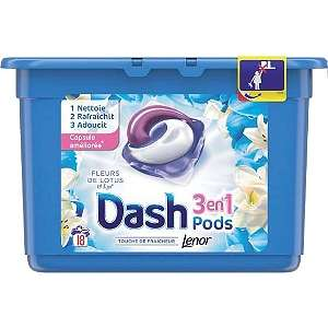 Paquet de 18 doses de lessive Dash Pods 3-en-1 - différents parfums (via Coupon Network + Quoty)