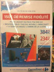 Pack console Sony PS4 Slim (500 Go) + La Terre du Milieu : L'Ombre de la Guerre + Minecraft + The Evil Within 2 + Wolfenstein II: The New Colossus (via 150€ sur la carte de fidélité) - Aix-en-Provence (13)