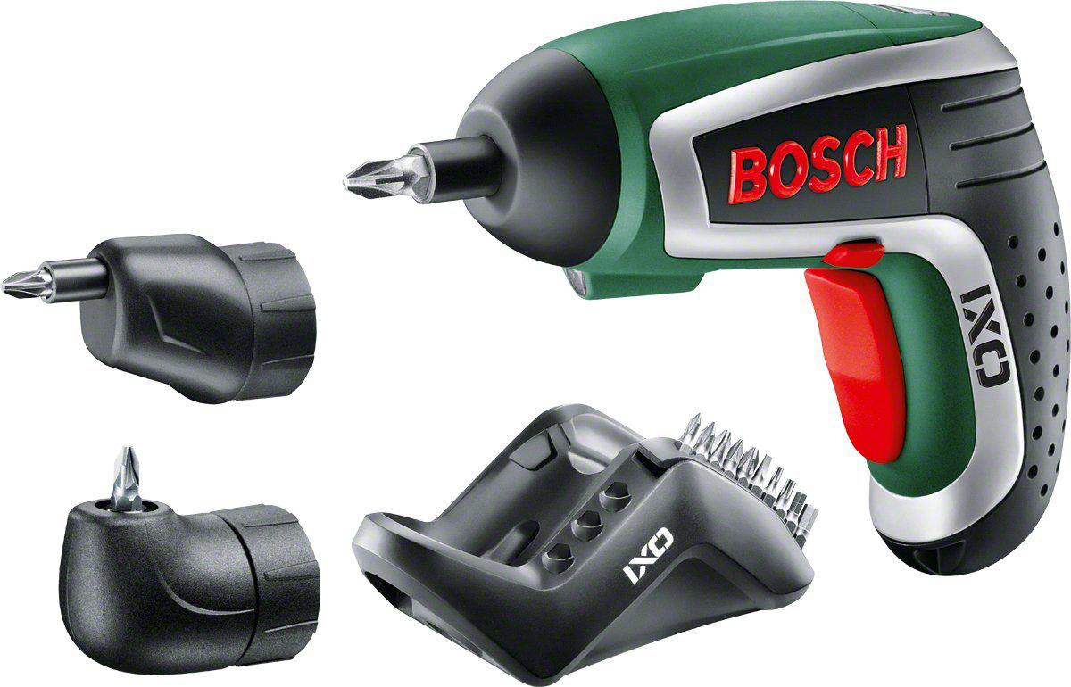 Bosch Visseuse Sans Fil IXO IV Deluxe (10 Embouts de Vissage, Renvoi d'Angle, Adapteur Excentrique et Chargeur)