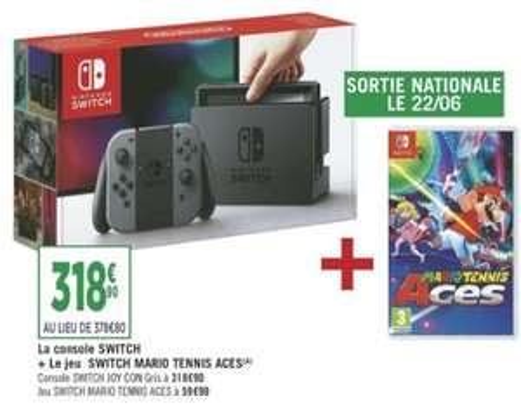 Console Nintendo Switch avec JoyCon Gris Inclus + Mario Tennis Aces (258.90€ via l'application Casino Max)