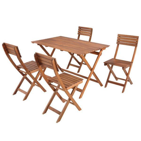 Ensemble Balcon / Salon de Jardin en Acacia Certifié FSC - Table + 4 ...