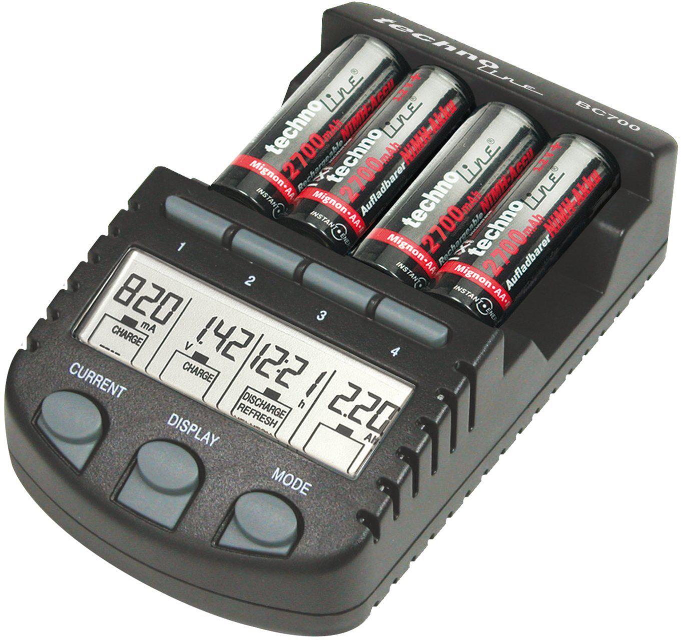 Chargeur de pile rechargeable pour NiCd/NiMH Noir Technoline BC-700-BLI