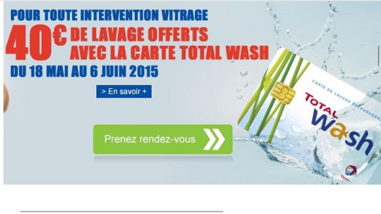 Carte Total Wash de 40€ gratuite pour tout changement de pare-brise