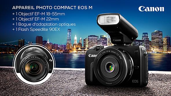 Appareil photo hybride Canon EOS M + 2 Objectifs (EF-M 18-55 mm et EF-M 22 mm) + Bague d'adaptation + Flash