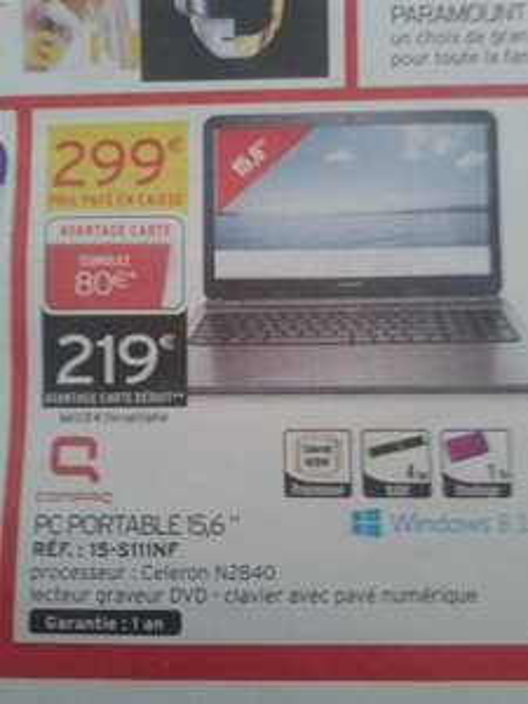 """PC Portable 15.6"""" Compaq 15-S111NF (Celeron N2840, 4 Go Ram, 1 To HDD) (Avec 80€ sur la carte fidélité)"""
