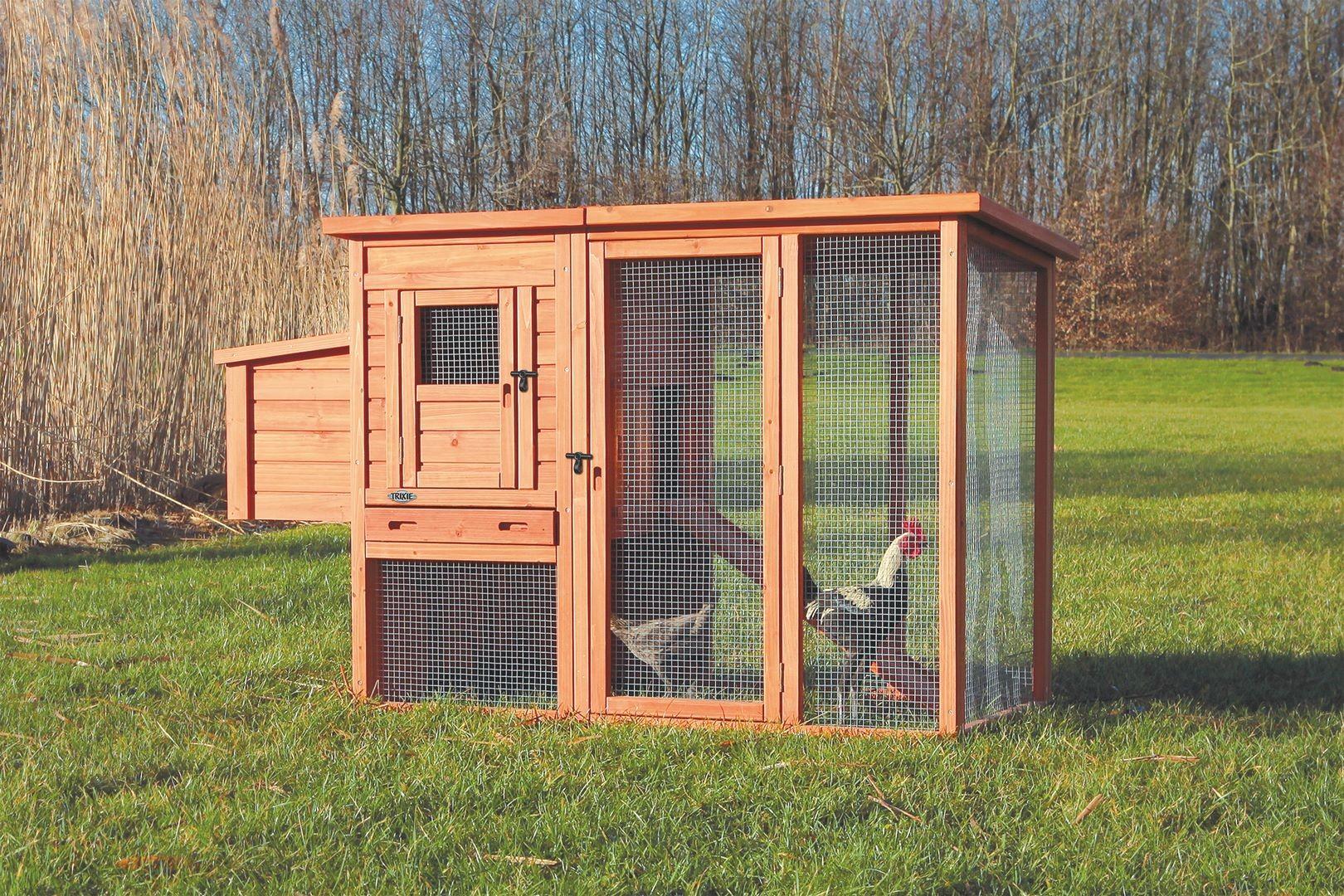 Poulailler avec cour extérieure en bois - 170 × 105 × 77 cm