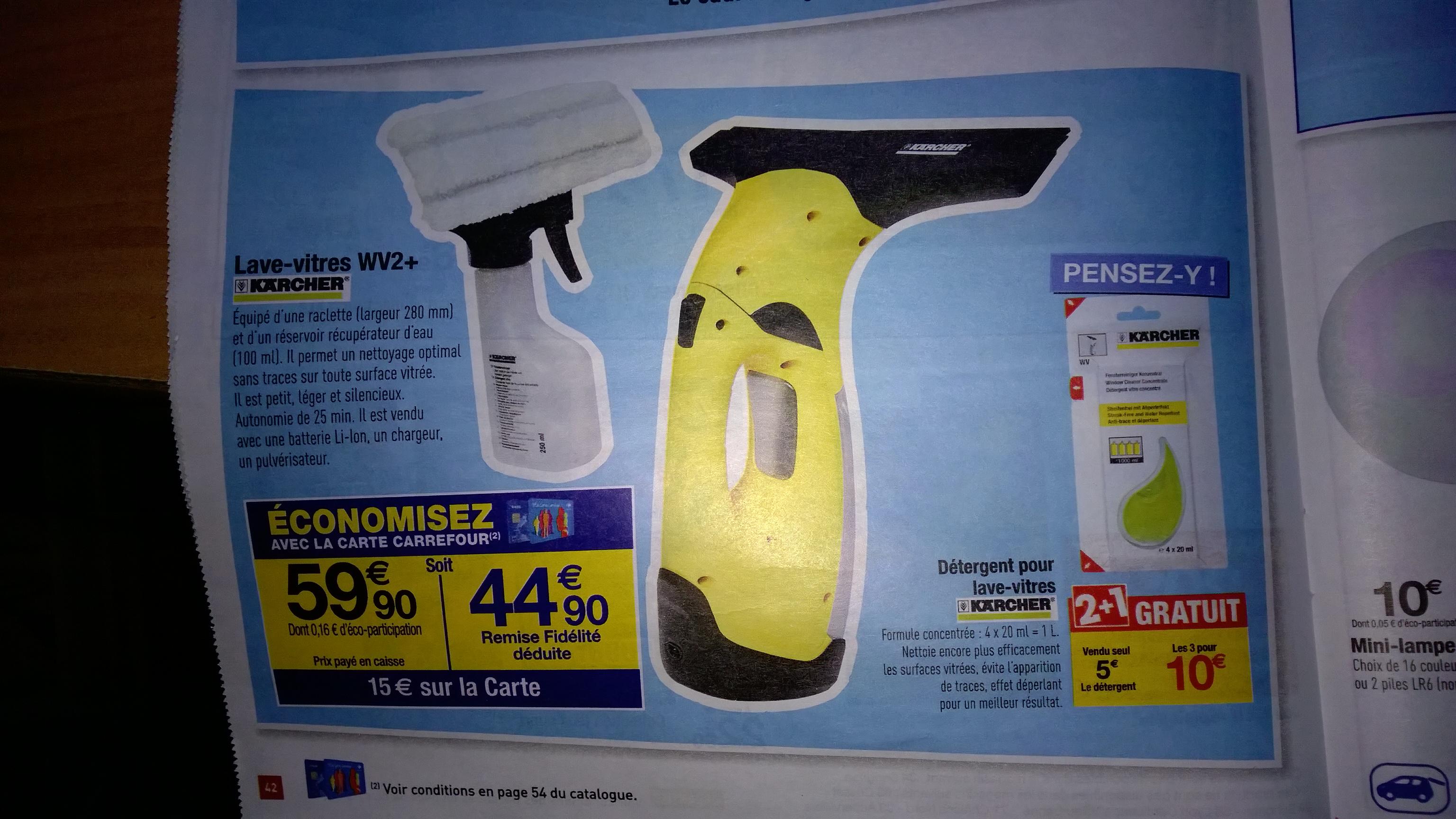 Nettoyeur de vitres Kärcher WV2+ avec Pulvérisateur 2 en 1 inclus (15€ sur carte)