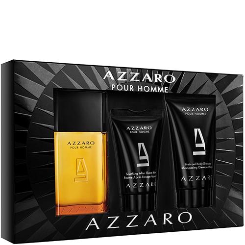 Coffret Eau de toilette homme Azzaro : Eau de Toilette 30ml + Shampoing Cheveux & Corps parfumé 50ml + Baume après rasage parfumé 30ml