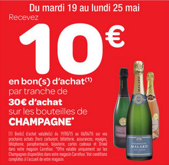 10€ en bons d'achat par tranche de 30€ sur tous les Champagnes