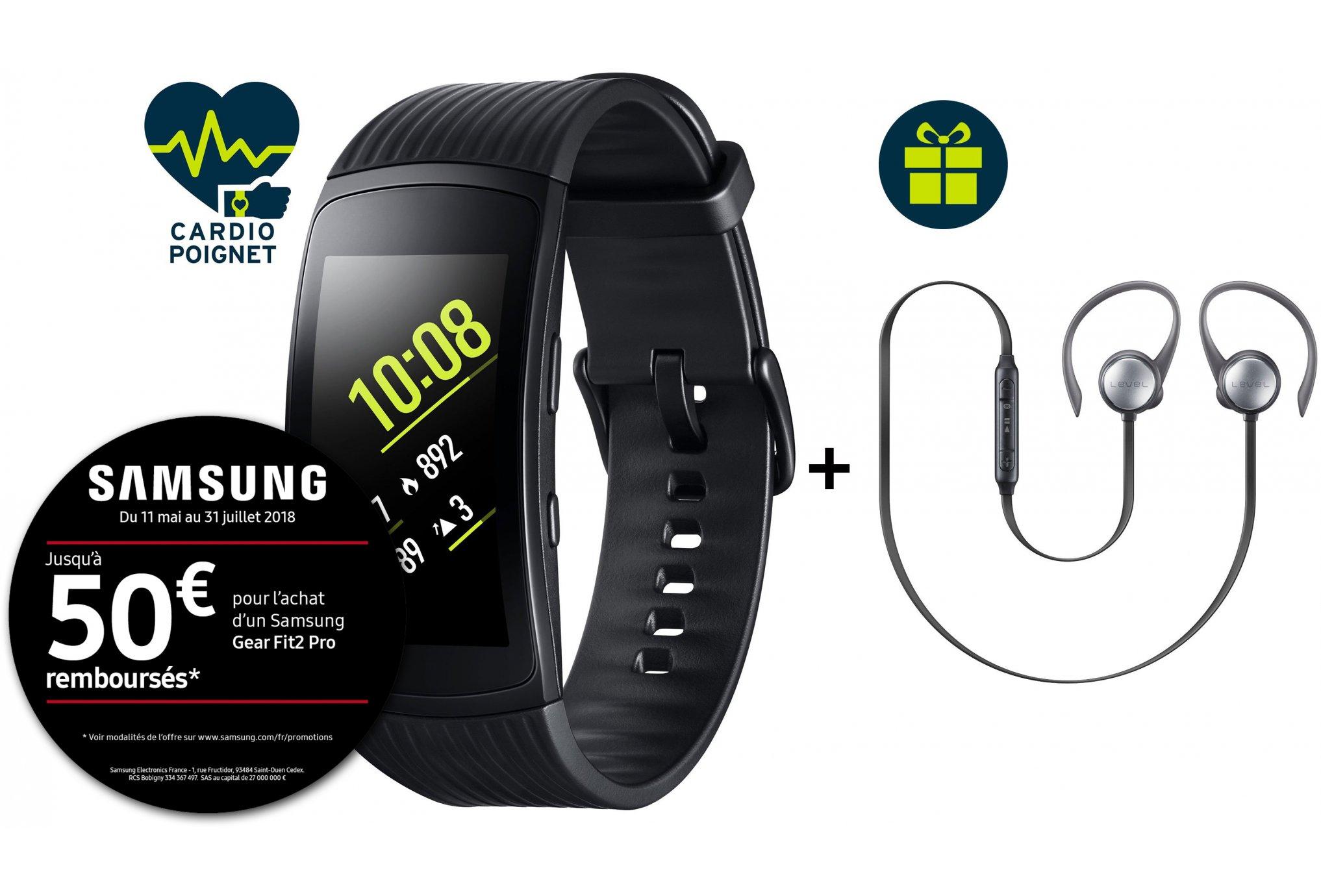Bracelet connecté Samsung Gear Fit 2 Pro + Casque samsung Level Active (via ODR de 50€)