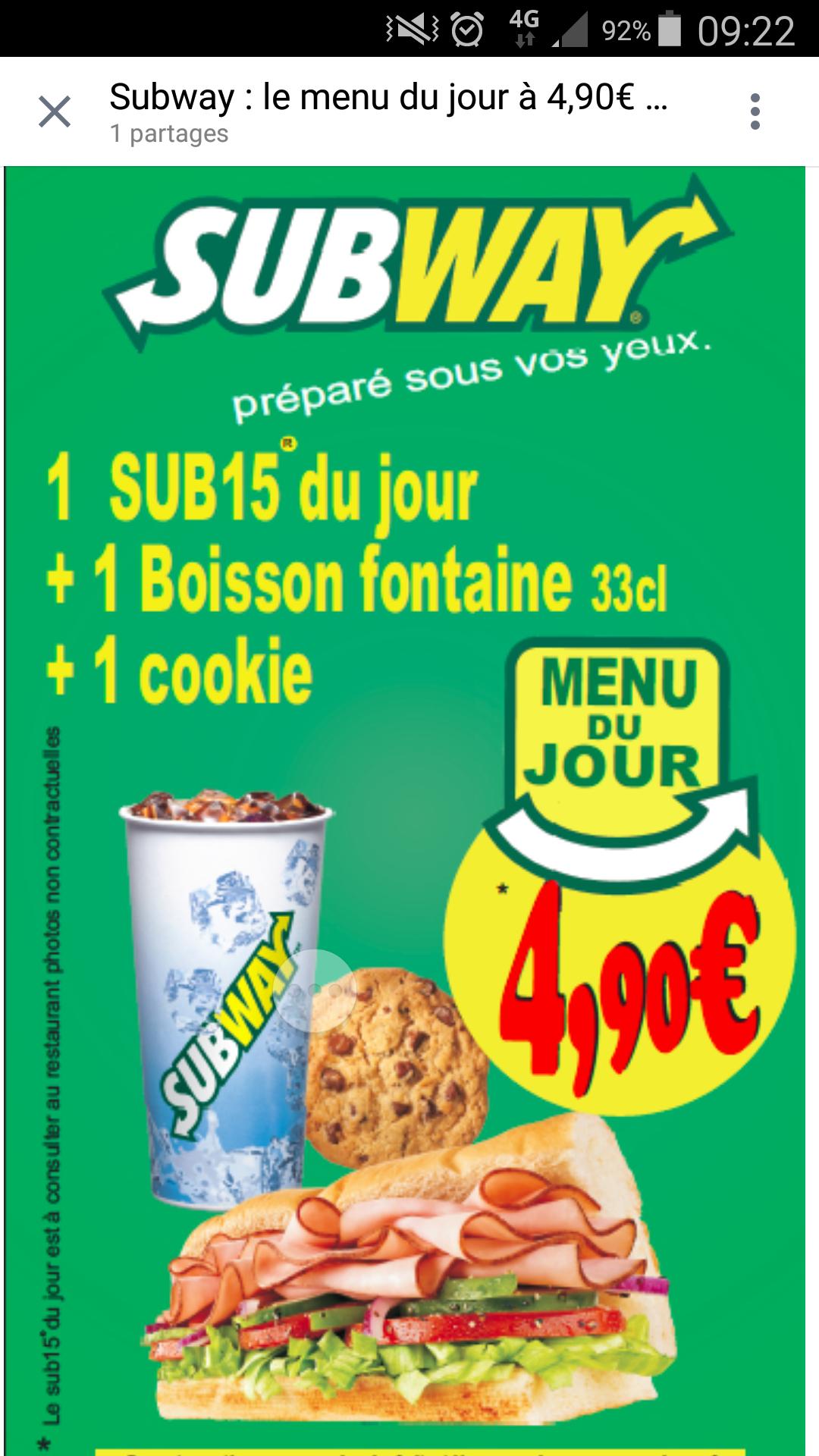 Menu du jour Subway : Un sub15 + Une boisson 33cl + 1 cookie