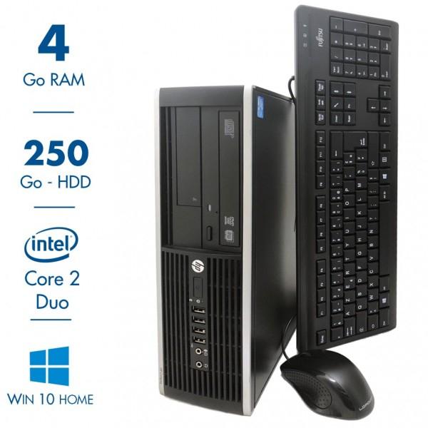 PC de bureau HP Compaq Elite 8000 SFF - Core 2 Duo E8400, 4 Go RAM, 250 Go, Win 10 Home + Clavier et souris (Reconditionné)