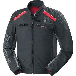 Blouson moto textile Louis 80 ans - Noir/Rouge (Taille S à 5 XL)