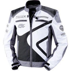 Veste textile moto Homme Fastway - Blanc/Noir ou Blanc/Rouge (Taille 64 & 66)