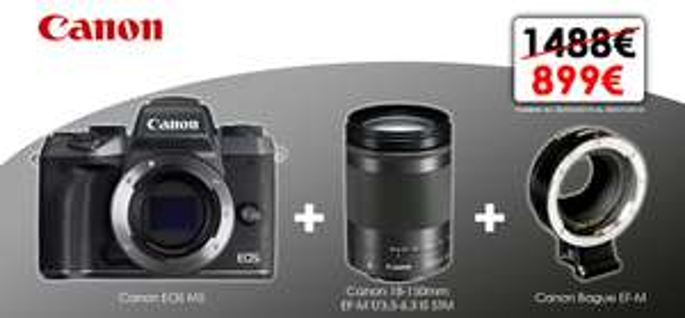 Appareil Photo Canon EOS M5 + Objectif 18-150MM F/3.5-6.3 IS STM + Bague EF-M (via ODR de 100€)