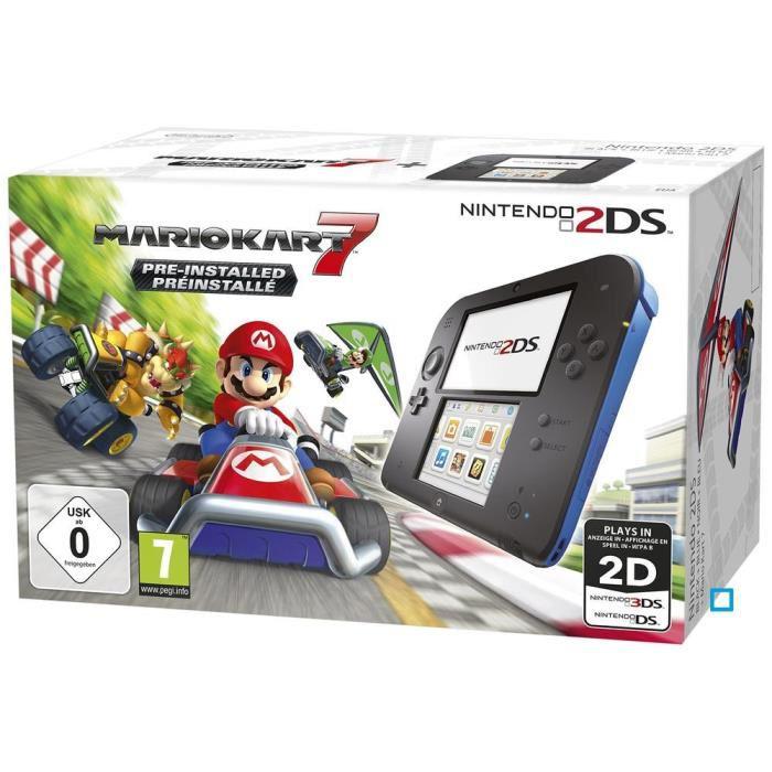 Pack Console Nintendo 2DS Bleue + Mario Kart 7 + Boitier de Rangement