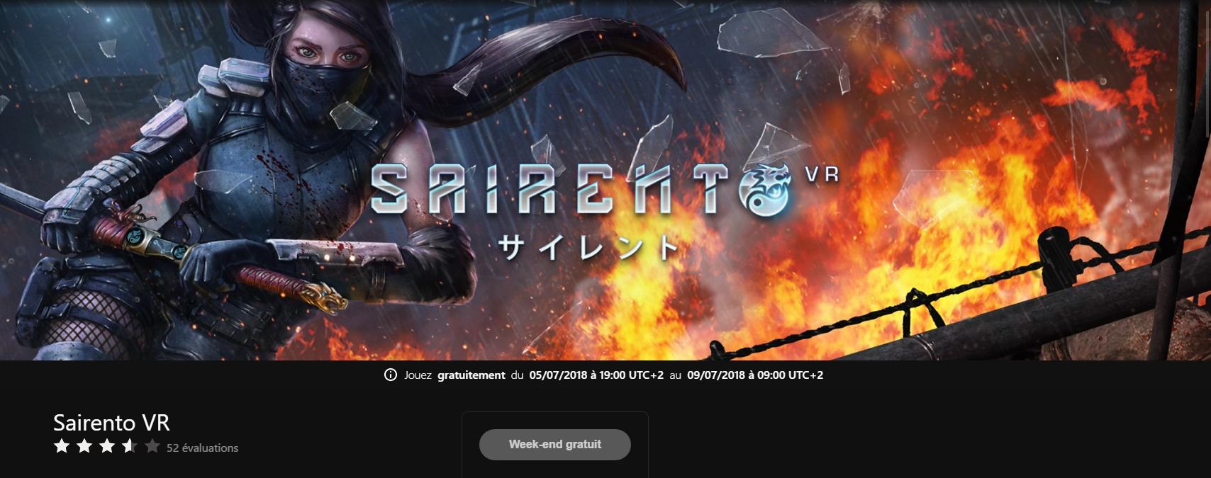 Jeu Sairento VR jouable gratuitement ce week-end sur Oculus Rift
