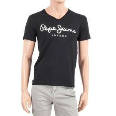T-shirt homme Pepe Jeans - Col V, noir