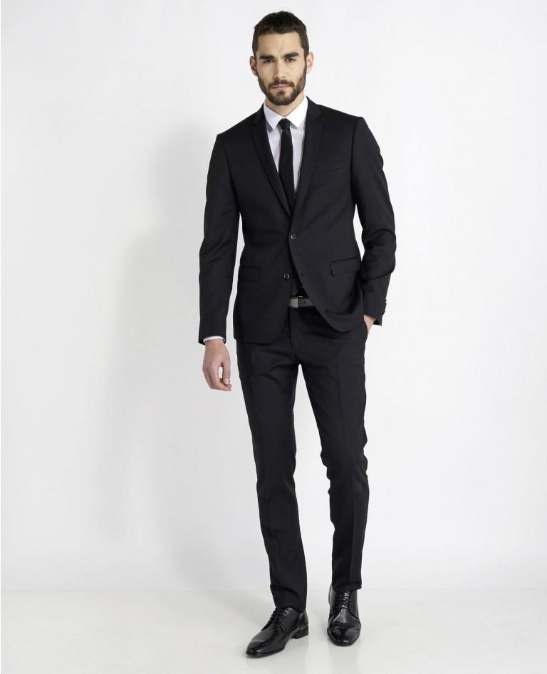 Costume 100% Laine coupe Extra Slim (Bleu ou Noir) + Cravate 100% soie