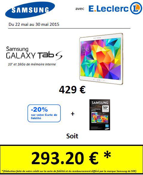 Tablette 10'' Samsung Galaxy Tab S - 16Go - SM-T800 (via ODR de 50€ et 85,8€ de remise fidélité)