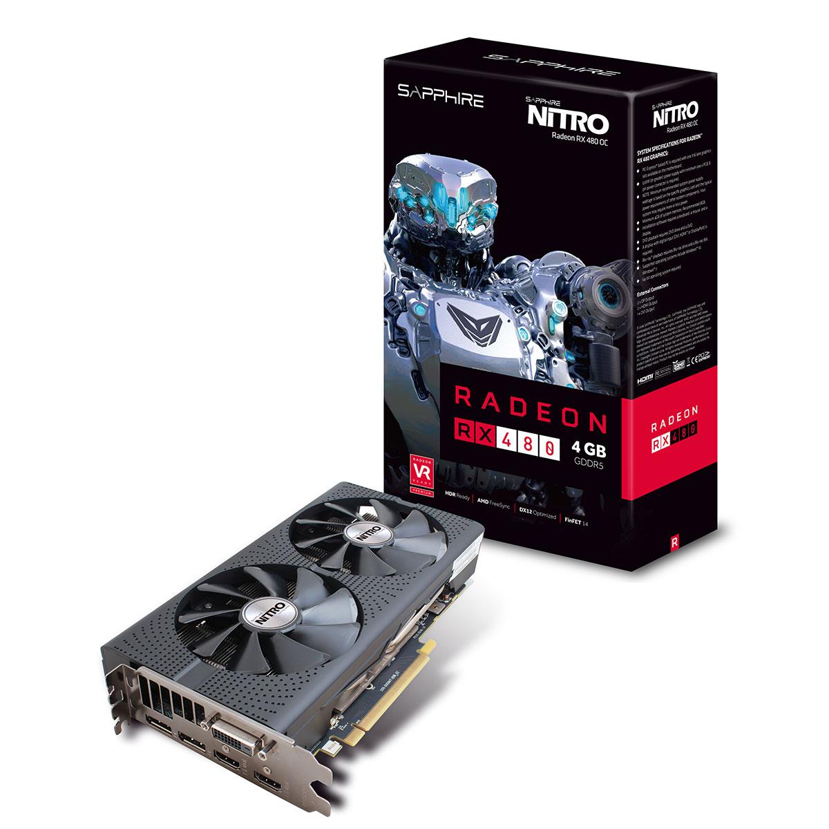 Carte graphique AMD Sapphire Nitro Radeon RX 480 4G (Reconditionné - Premium)