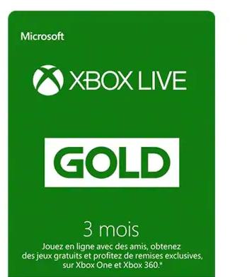 Xbox Live Gold 3 mois (via le store sur Xbox One)
