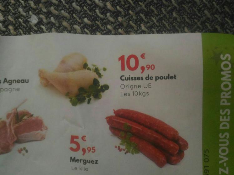 Caisse de 10Kg de cuisses de Poulet (Origine UE) - H Market Fleury Mérogis (91)