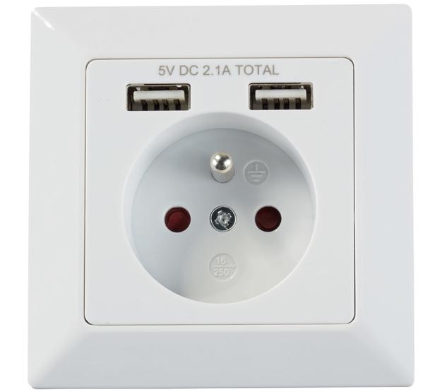 Prise murale Powerfix avec 2 ports USB
