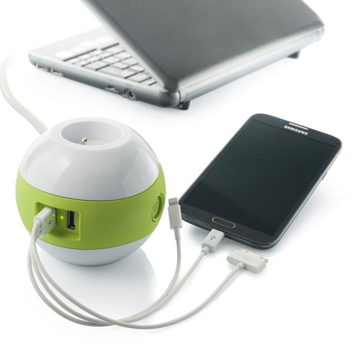 Multiprise Watt&Co Watt'Ball - Vert (3 prises + 2 ports usb)