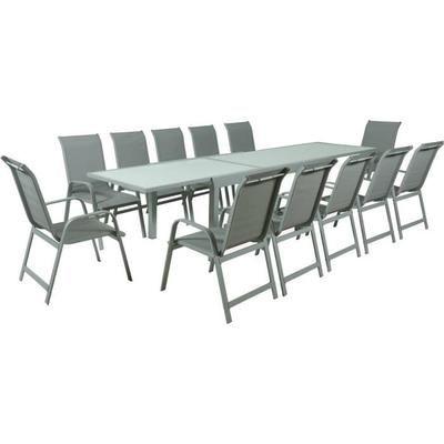 Salon de Jardin Aluminium et Verre 12 places : 1 Table et 12 ...