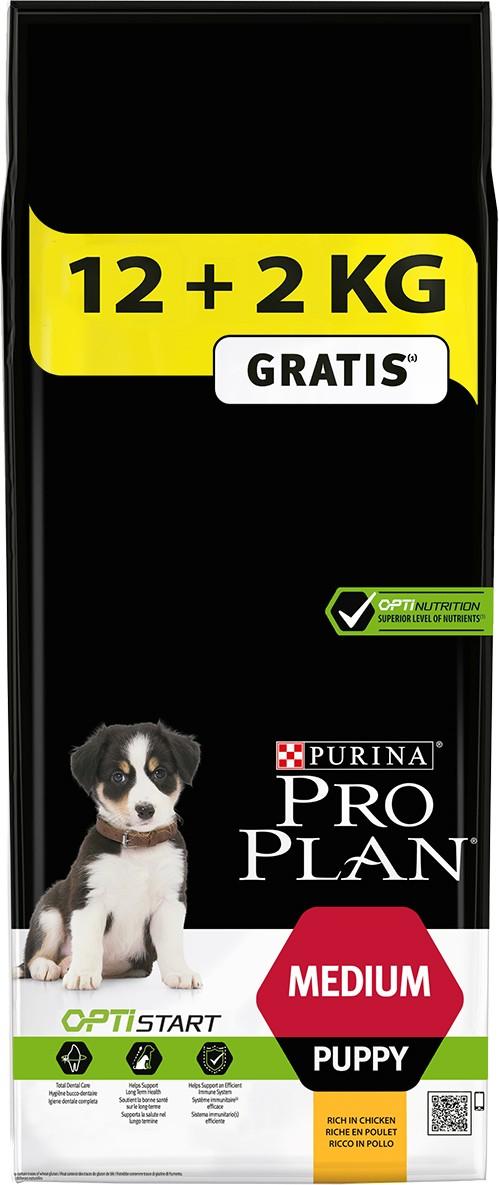 Proplan Chien Puppy Medium OptiStart Poulet 12 + 2 kg