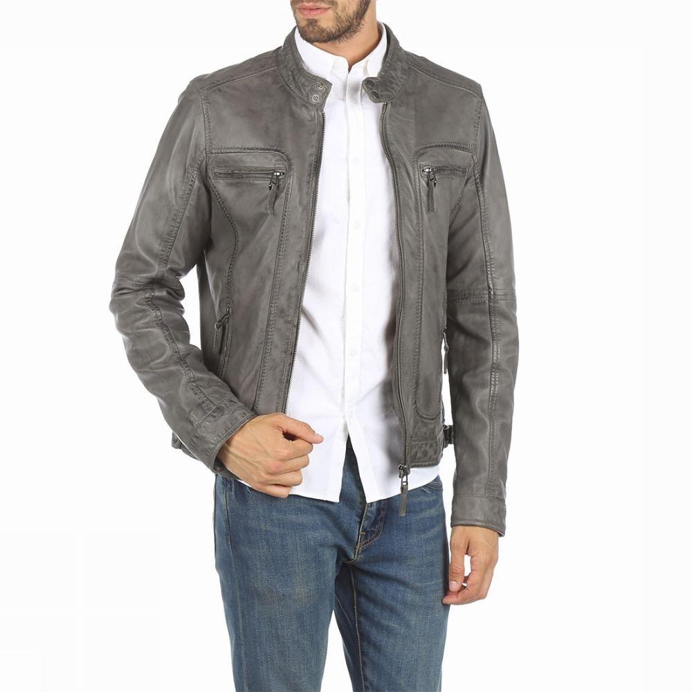 Manteau Oakwood Casey en cuir - Gris (Tailles XL à XXL)